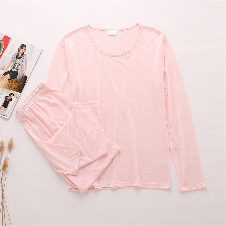 Dapengzhu 80% Silk 20% Cotton Women's Long Sets Women Winter Autumn Warm Home Clothing Thermal Underwear Suits pink M