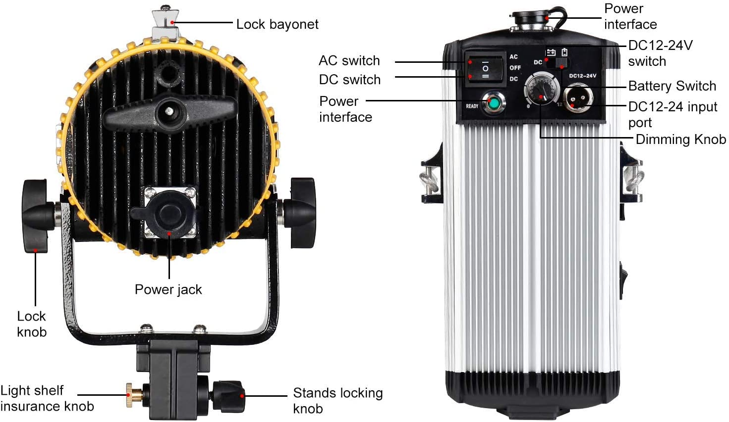 ASHANKS led Fresnel Spotlight 150W Dimmable Studio Fresnel Light 3200-5500K with Wireless Remote Control for Camera Photo and Studio Video