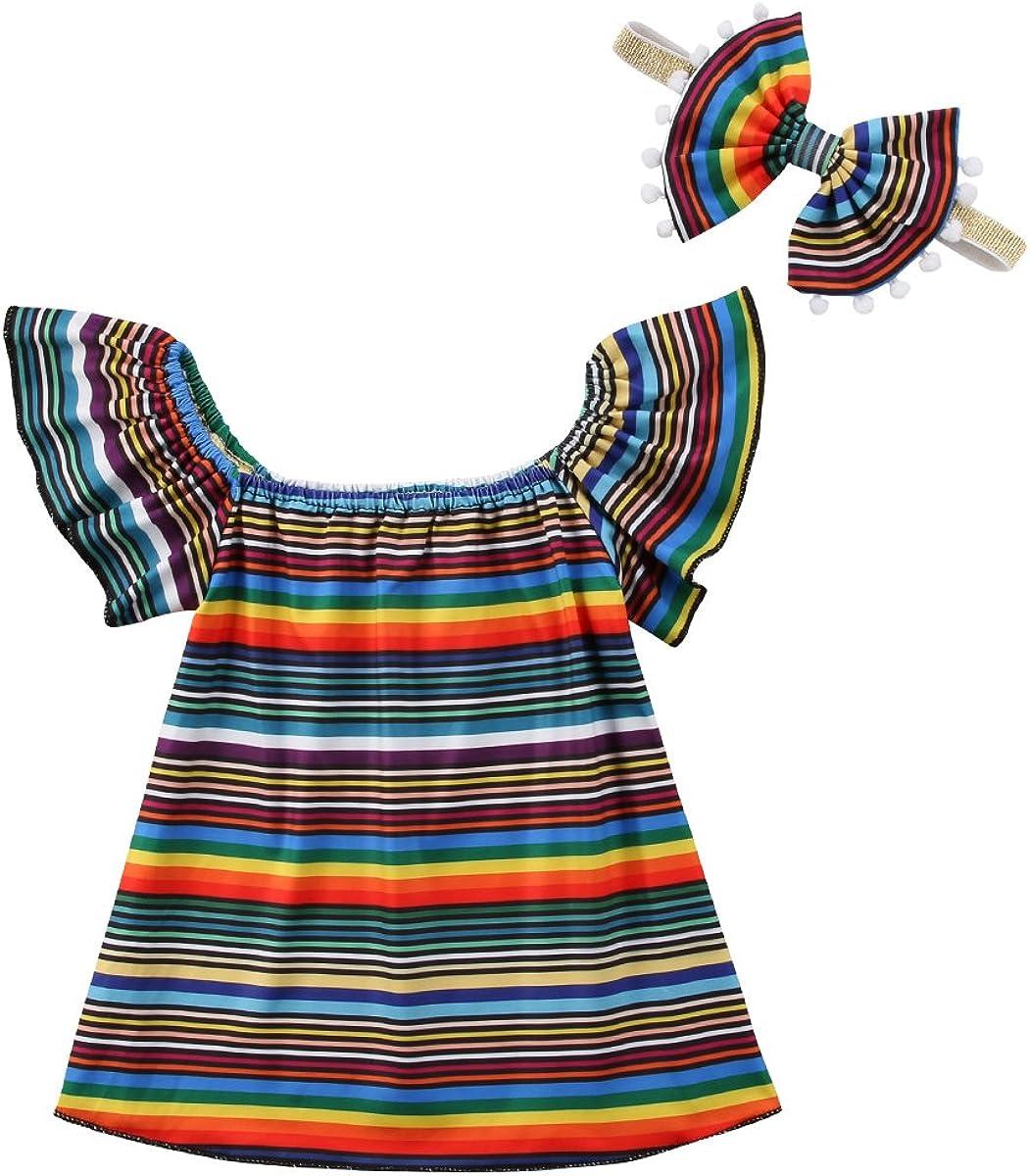 Infant Baby Girl Toddler Summer Rainbow Stripe Ruffle Sleeve Dress Set Outfits