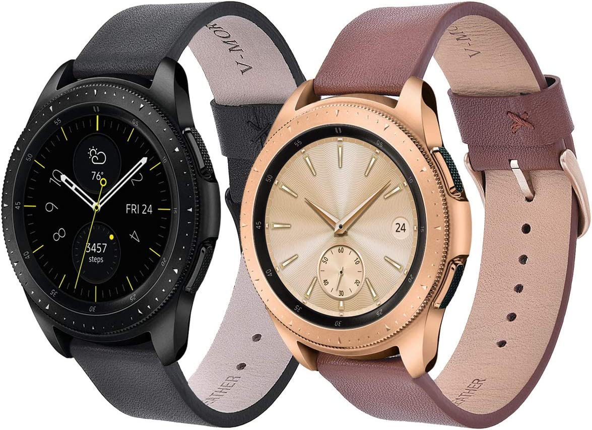 V-MORO Leather Strap Compatible with Galaxy Watch 42mm Bands/Active 40mm Band 2 Peck Softer Replacement for Samsung Galaxy Watch 42mm SM-R810/Galaxy Watch Active 40mm R500 (Black+Brown)