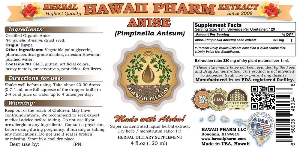 Anise Liquid Extract, Organic Anise (Pimpinella Anisum) Seed Tincture 15x4 oz by HawaiiPharm (Image #2)