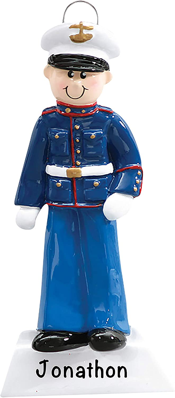 Personalized Christmas Ornaments U.S. Marine Soldier – Patriotic Christmas Ornaments Personalized Holiday Decor – Polyresin USMC Ornaments Christmas Tree Decor – 2020 Ornament