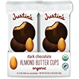 Justin's Organic Almond Butter Cups, Dark Chocolate, Rainforest Alliance Certified Cocoa,1.4 Ounce - Pack of 12