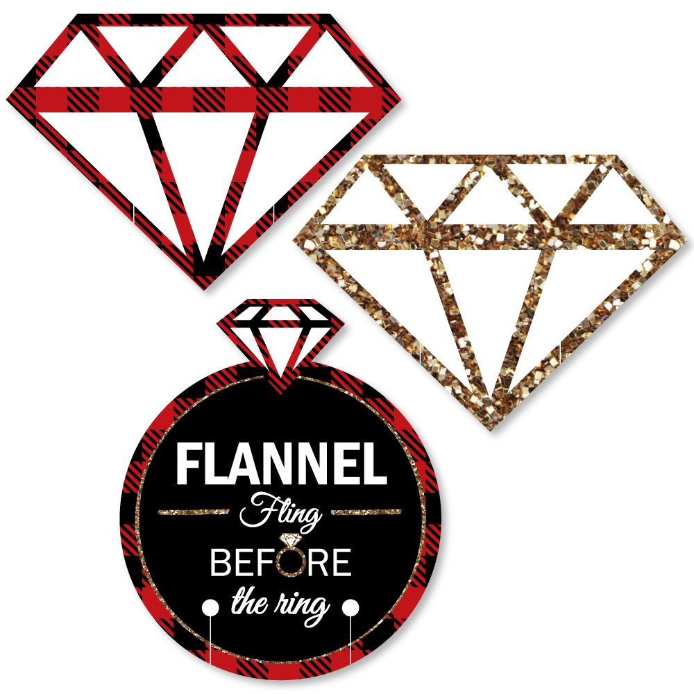 Big Dot of Happiness Flannel Fling Before the Ring Set of 24 Shaped Buffalo Plaid Bachelorette Party Wine Glass Markers