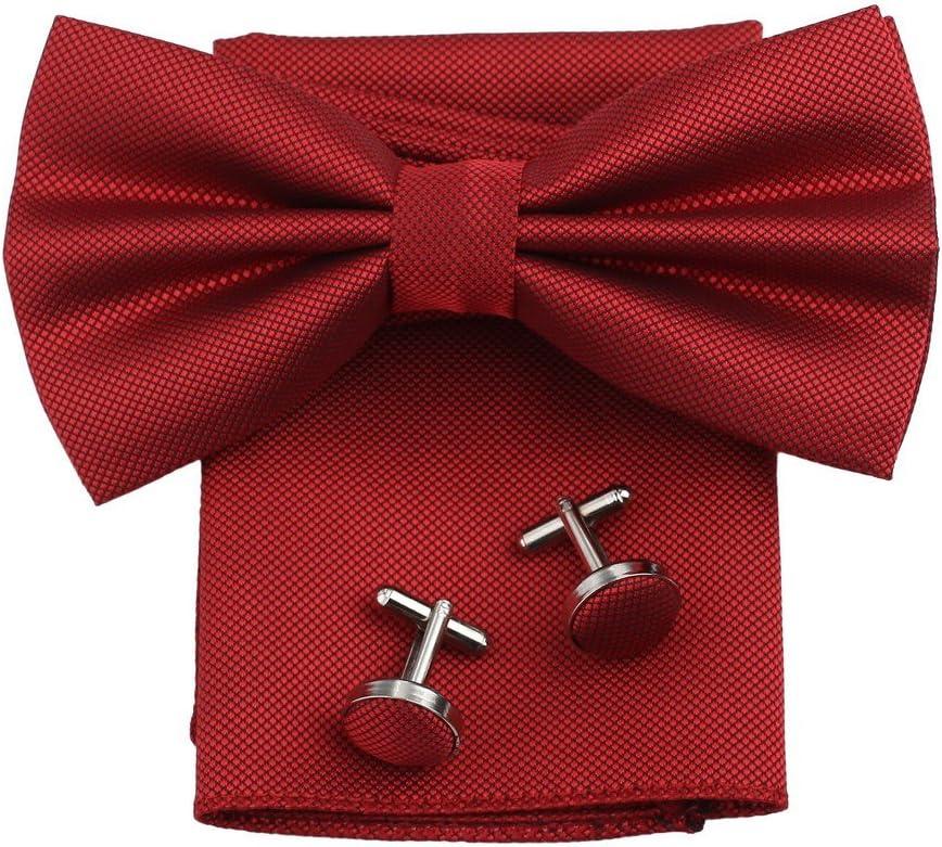 Dan Smith C.C.O.U.007 Black Bow Ties Groomsmen Microfiber Mens Bowtie Cuff Handkerchiefs Set