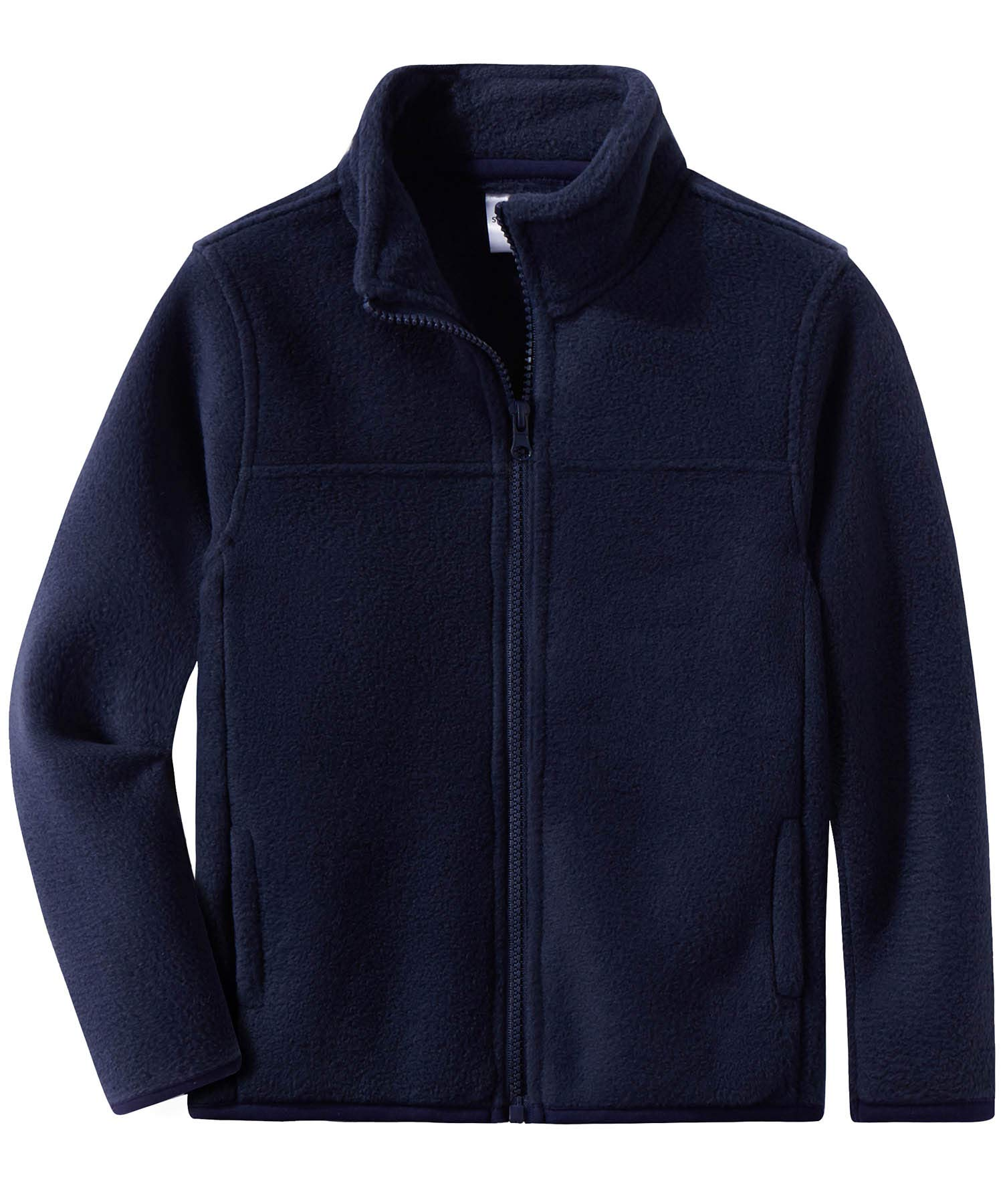 Spring&Gege Youth Solid Full-Zip Polar Fleece Jacket for Boys and Girls Size 5-6 Years Navy Blue
