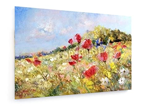 WILDFLOWER MEADOW POPPIES CANVAS WALL ART PICTURE LARGE 75 X 50 CM