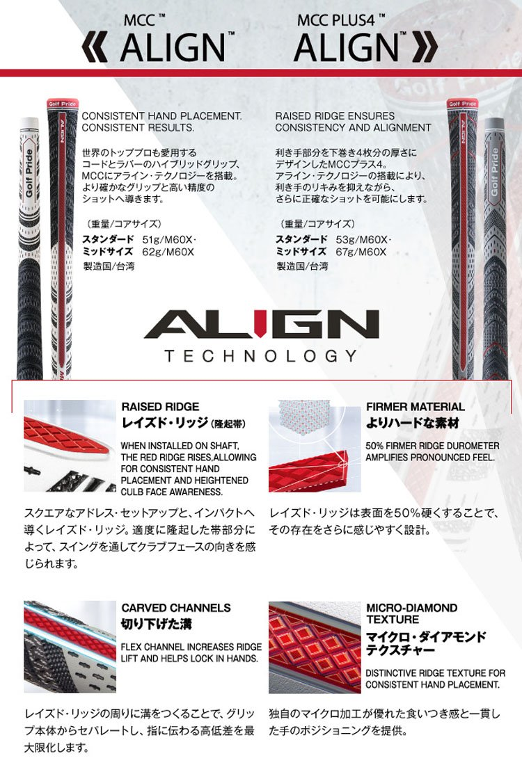 13 Golf Pride MCC Plus4 ALIGN Standard Golf Grips - 18122