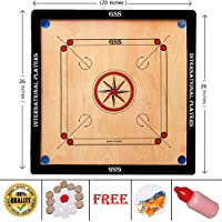 GSS Carrom Board Full Size 26 inches with Coins, Striker and Powder.