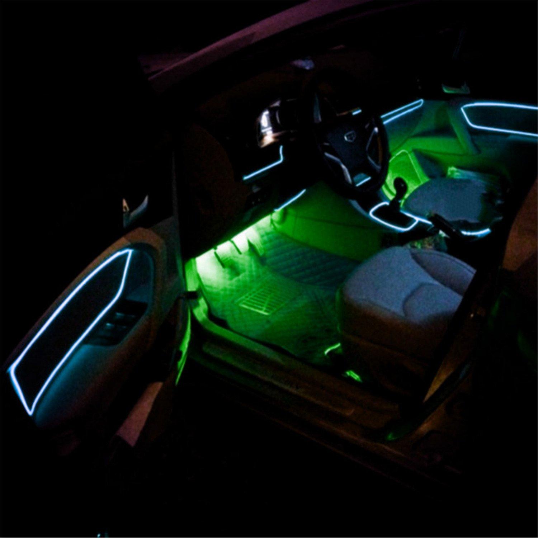 1PC Cicongzai Car Decorativo Led Holiday Accesorio Flexible Neon Light El Hilo de Alambre de Tubo de Coches de Hilo Etiqueta Adhesiva Etiquetas 12V