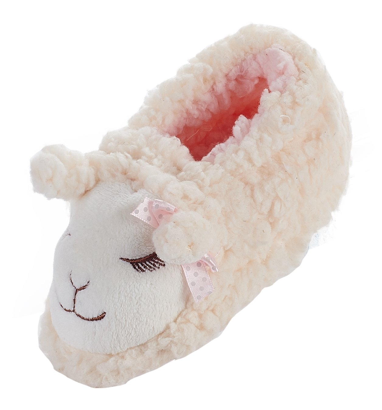 LA PLAGE Child Lamb Antiskid Cotton Household Warm Cartoon Slippers Size Toddler 8 US Creamy