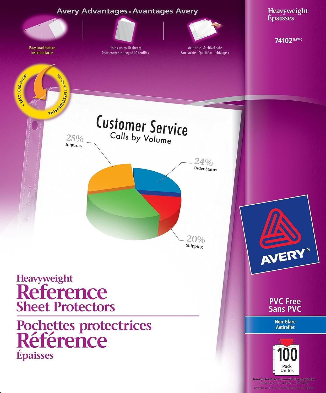 Amazon.com : Avery 74102 Top loading non-glare poly sheet ...