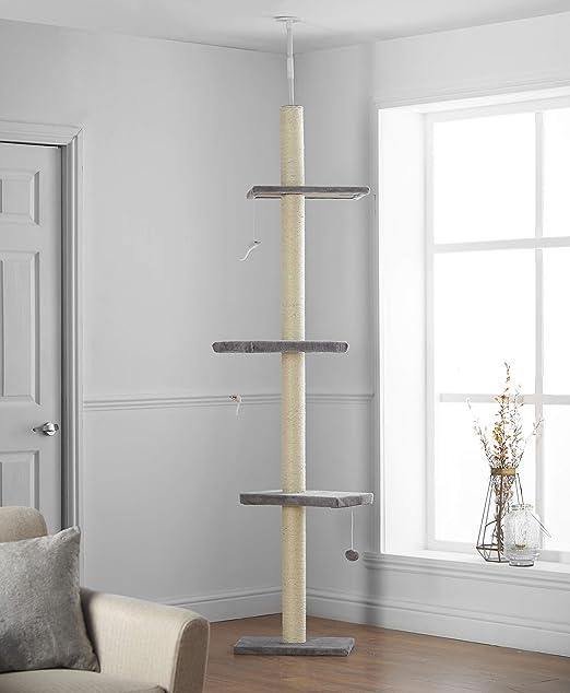 Pippa & Max Árbol Rascador para Gatos de 215cm-288cm, Rascador de Suelo a Techo para Gatos, Poste Escalador de Sisal Natural, Árbol para Gatos Extensible, Arbol Rascador de Actividades: Amazon.es: Productos para