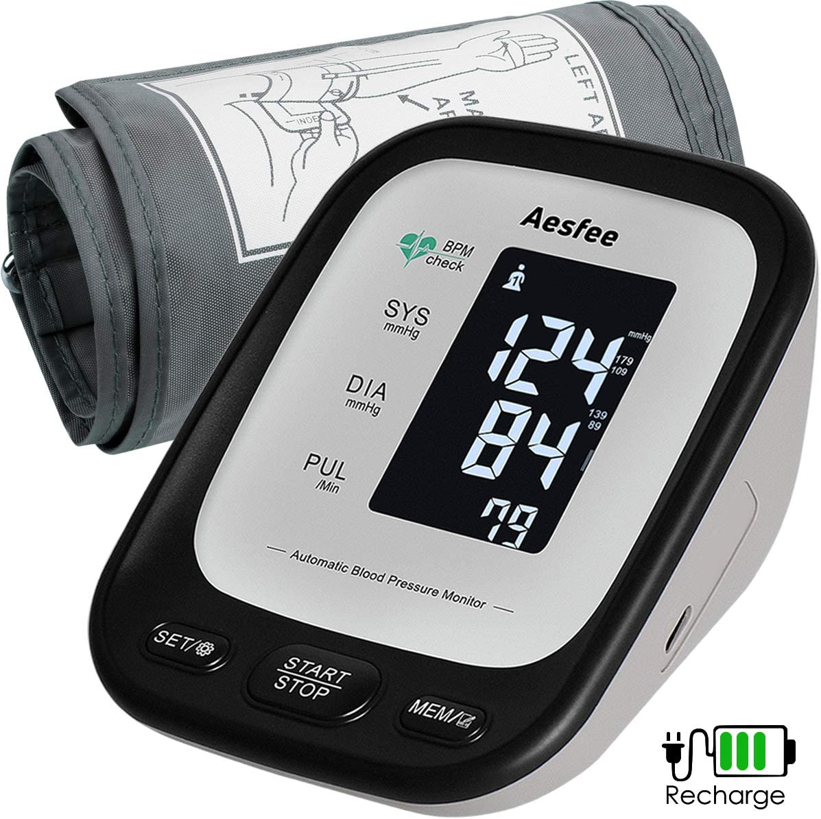 Arm Blood Pressure Monitor with Large Cuff, Accurate Automatic Upper Arm BP Machine for Home Use, Digital Blood Pressure Heart Rate Pulse Meter USB Rechargeable with Backlit LCD Display