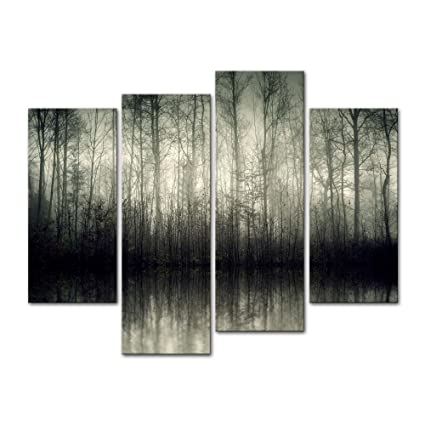 4 Pieces Modern Canvas Painting Wall Art The Picture For Home Decoration  Beautiful Lake With Fog