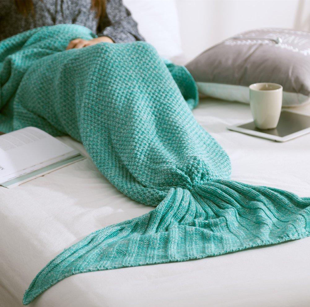 ChezMax Knitting Wool Mermaid Tail Blanket Soft Thick Sleeping Bag for Living Room Birthday Christmas Gift for Girls Green 31.5''x 70.9''