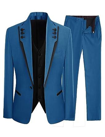 bebf1d007b2 Lilis Men s Fashion Gray 3 Pieces Men Suits Wedding Suits One Button Groom  Tuxedos at Amazon Men s Clothing store