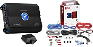 Planet Audio PL1500.1M Pulse 1500W Monoblock Class AB MOSFET Amplifier and Remote Bundle with BOSS KIT2 Audio Systems 8 Gauge Complete Car Amplifier Installation Wiring Kit
