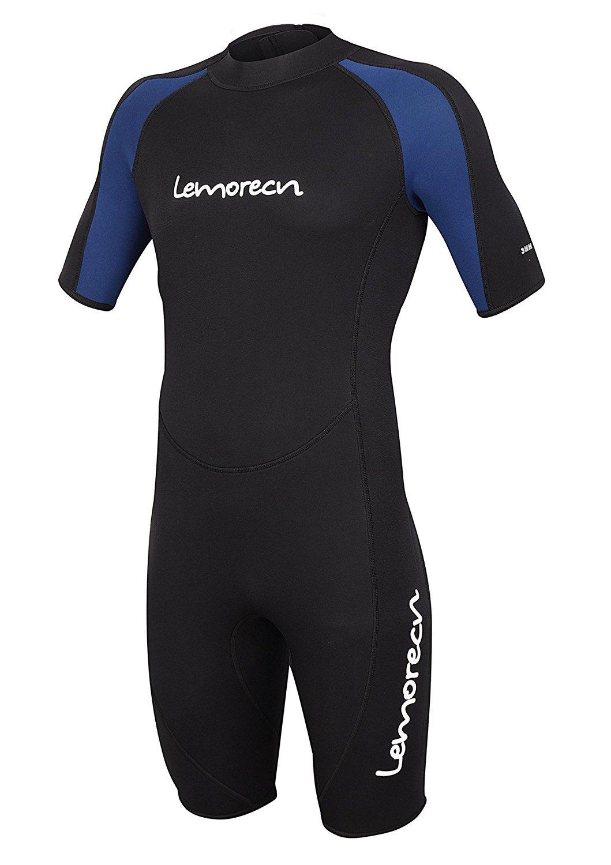 Lemorecn Wetsuits Adult's Premium Neoprene Diving Suit 3mm Shorty Jumpsuit (3035blackblueL)