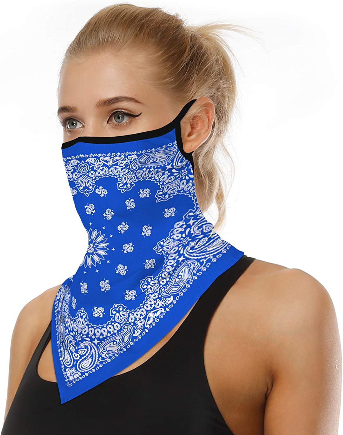 LOLONG Face Bandana Ear Loops Stylish Men Women Neck Gaiters for Dust Wind Motorcycle