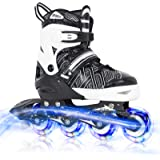 Nattork Adjustable Inline Skates for Kids with Full Light up Wheels,Fun Illuminating Roller Skates for Boys and Girls,Youth a