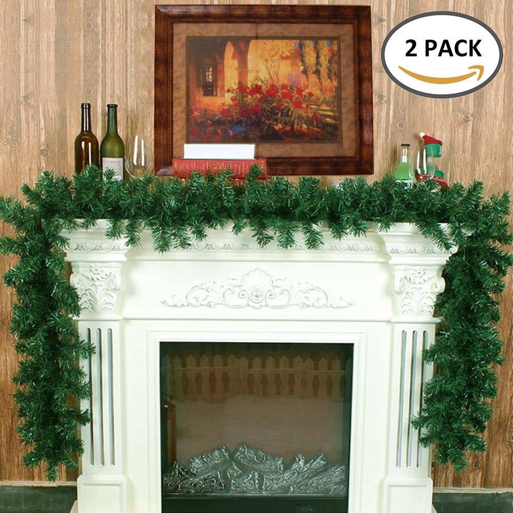 cherry Juilt 9 Feet 2 Pcs Christmas Garland Decorations Outdoor Indoor Artificial Pine Wreath Xmas Decorations for Wall Door Stairs