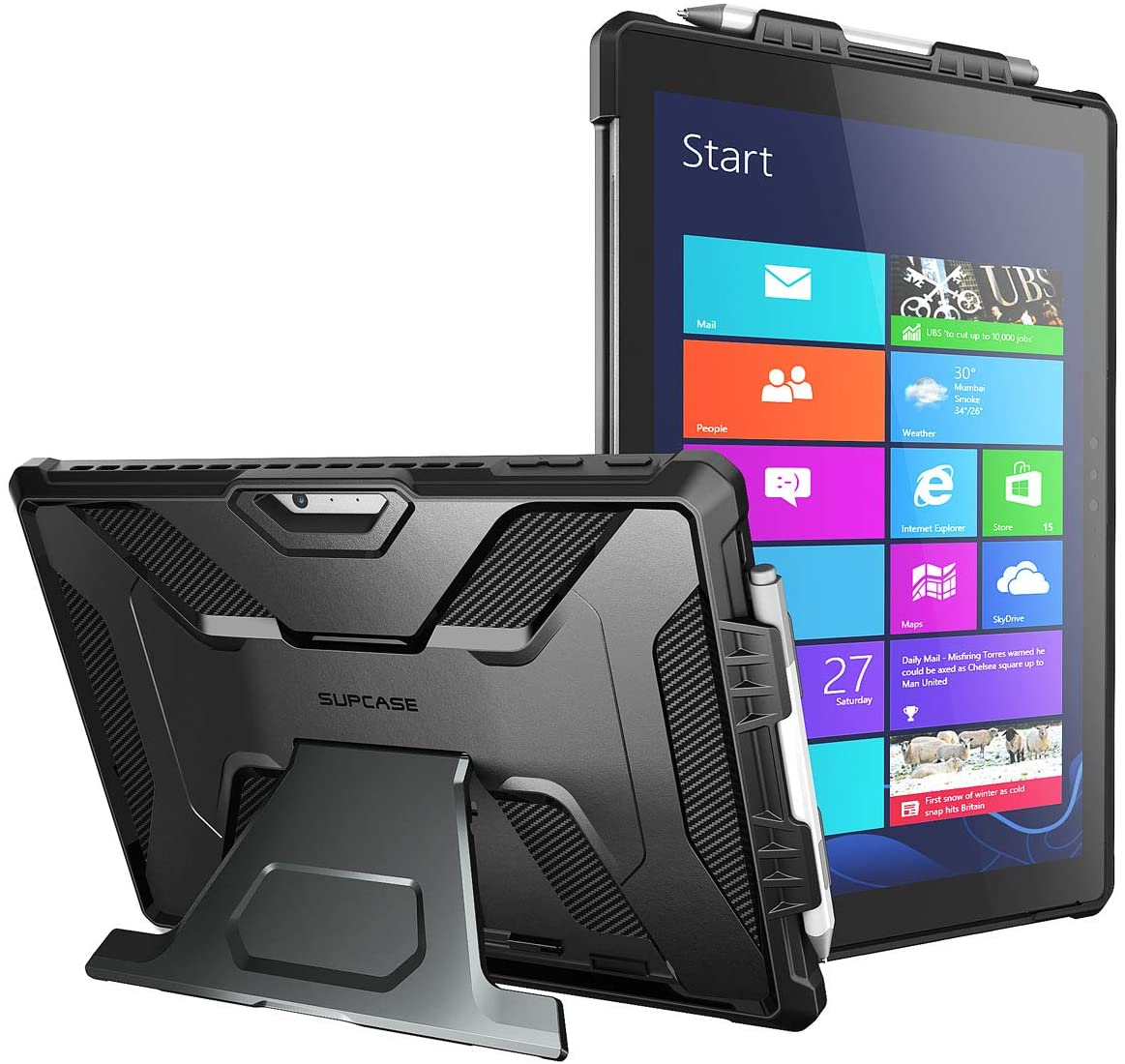 SUPCASE [UB PRO Series] Full-Body Kickstand Rugged Protective Case for Surface Pro 7/Pro 6 Case Microsoft Surface Pro 7/Pro 6/Pro 5/Pro 4/Pro LTE (Black)