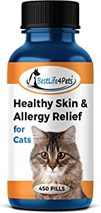 BestLife4Pets Healthy Skin and Allergy Relief for Cats - All-Natural Supplement Relieves Pet Allergies - Strengthen and Improve Immune System - Prevent Itching and Fur Shedding (450 Pills)