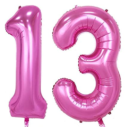 40inch Pink Foil 13 Helium Jumbo Digital Number Balloons 13th Birthday Decoration For Girls Or