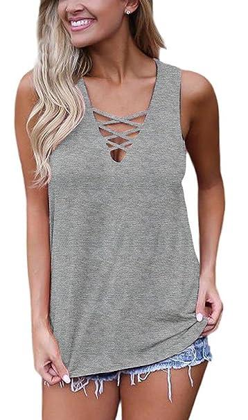 Sipaya Womens Tank Tops Summer Tops Casual Cami Shirts Basic Lace up Blouse S-XL