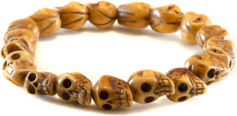 Amazon Com Men S Skull Bracelet Bone Carved Skulls Stretch Design For Male Adjustable 8 Jewelry