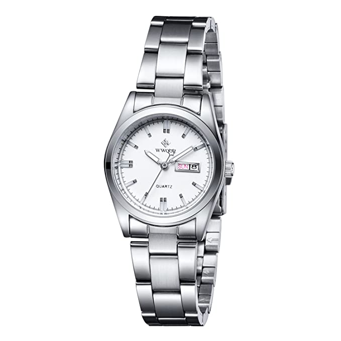 Amazon.com: Womens Date Calendar Clock Ladies Fashion Casual Stainless Steel Watches Female Casua Wrist Watch White: Watches