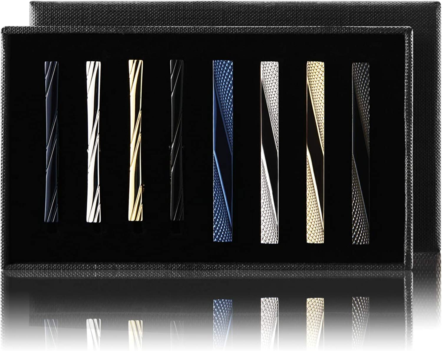 MOZETO Tie Clip Set for Men, 2 Sizes Tie Bars Fit Regular Tie and Narrow Tie, 8pcs Luxury Packaging for Men's Gift