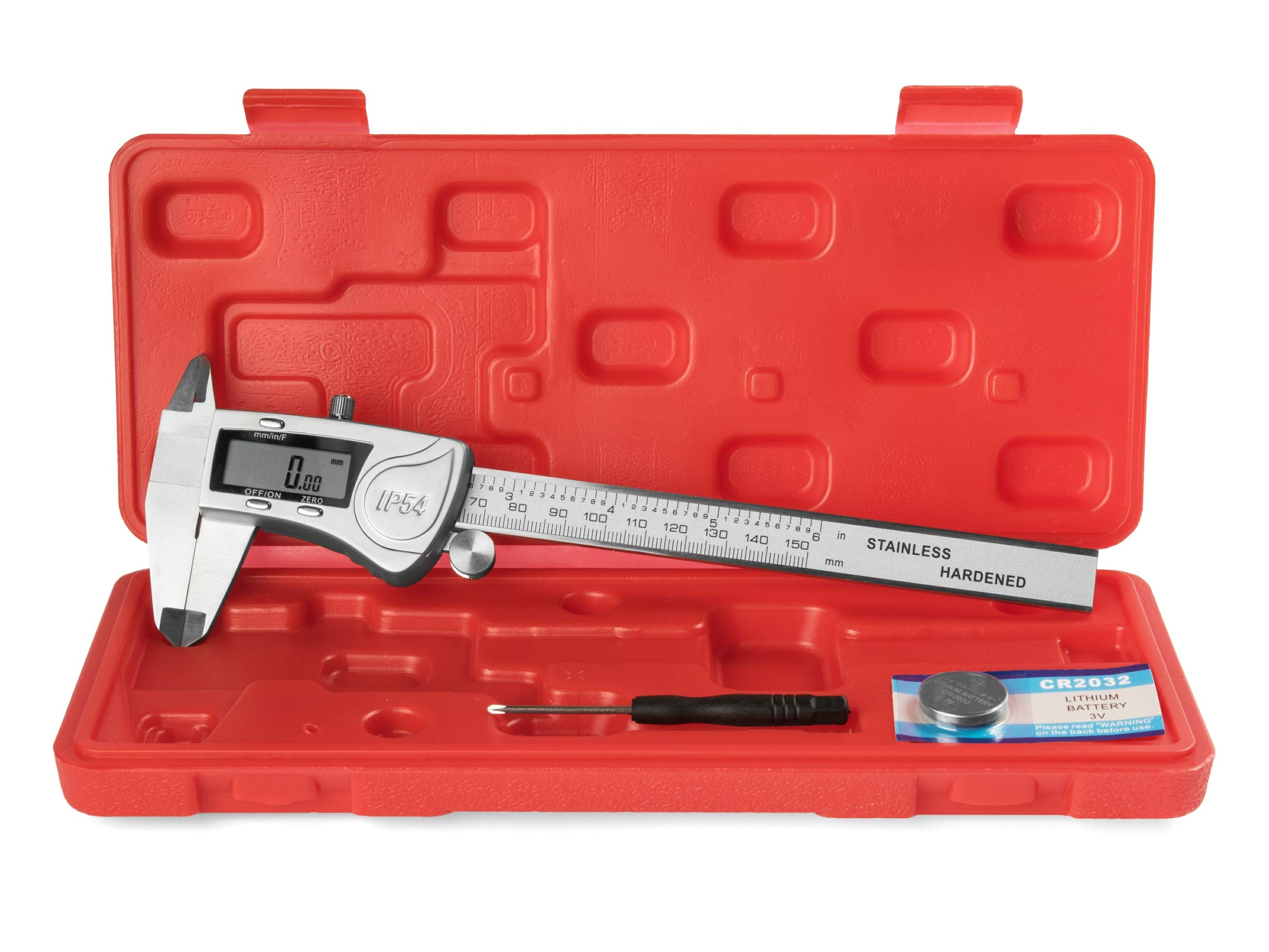 EAGems Digital Caliper, Rugged Stainless Steel IP54 Water Resistant Electronic Measuring Tool; Get Precision Fractional Measurements in SAE/Metric, 6 inch/150mm with these Large LCD Vernier Calipers