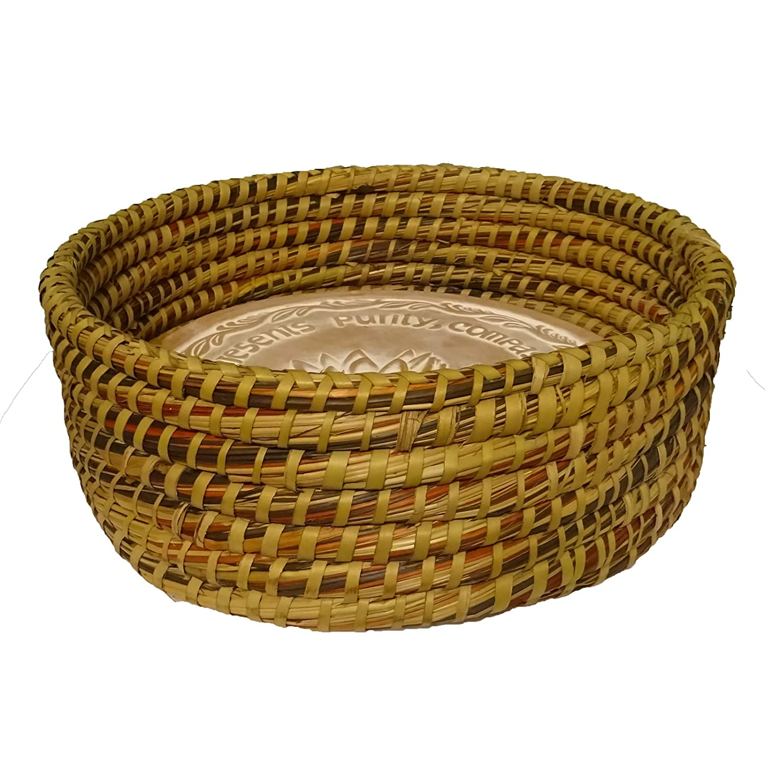 Warming Bread Basket with Lotus Warmer Tile Stone Hand Woven For Rolls Appetizers by The Crabby Nook (Autumn Spice)