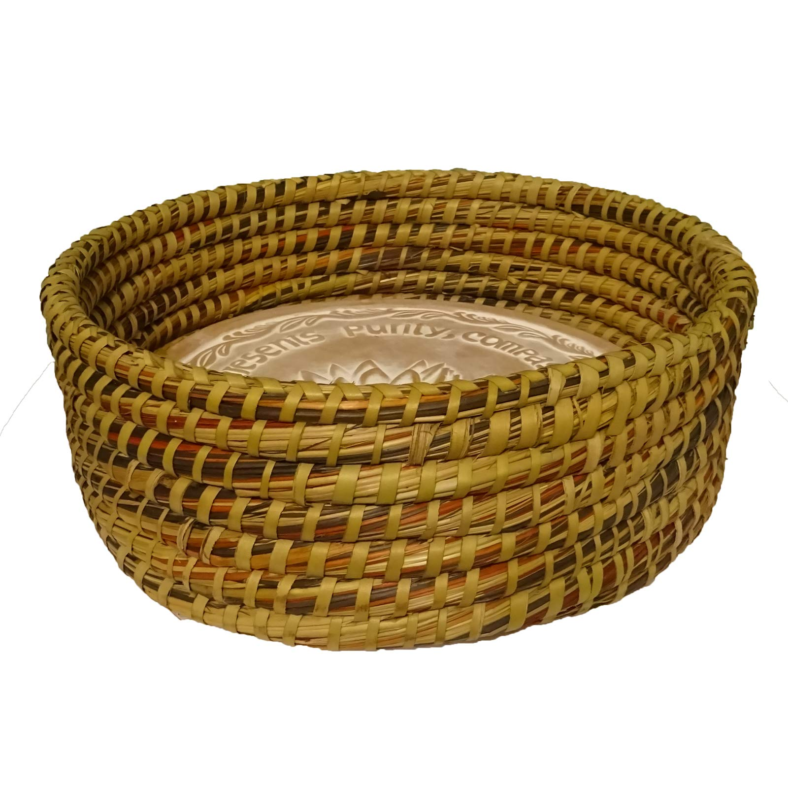 Warming Bread Basket with Lotus Warmer Tile Stone Hand Woven For Rolls Appetizers by The Crabby Nook (Autumn Spice) by The Crabby Nook (Image #1)