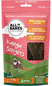 ALL BARKS Kanga Bangers - 5 Sticks - 100% Kangaroo Natural Australian Dog Treats - Snacks & Rewards