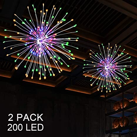 Hanging String Lights, 2pack DIY Firework String Light, 150 LED 8 Mode  Dimmable Hanging String Light, Battery Operated with Remote Control for