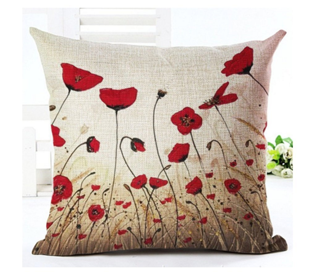 Red Poppy Flowers Throw Pillow Throw Pillow Case Home Decor Gift Anniversary Day Present Pillowcase Cushion Cover