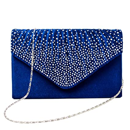 6df4e78b14320 Blueyouth Women's Evening Envelope Clutch Bag - Rhinestone-Studded, Satin  Lined Interior, Perfect