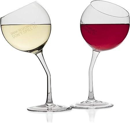 Amazon.com: 2 copas de vino inclinadas de cristal con texto ...
