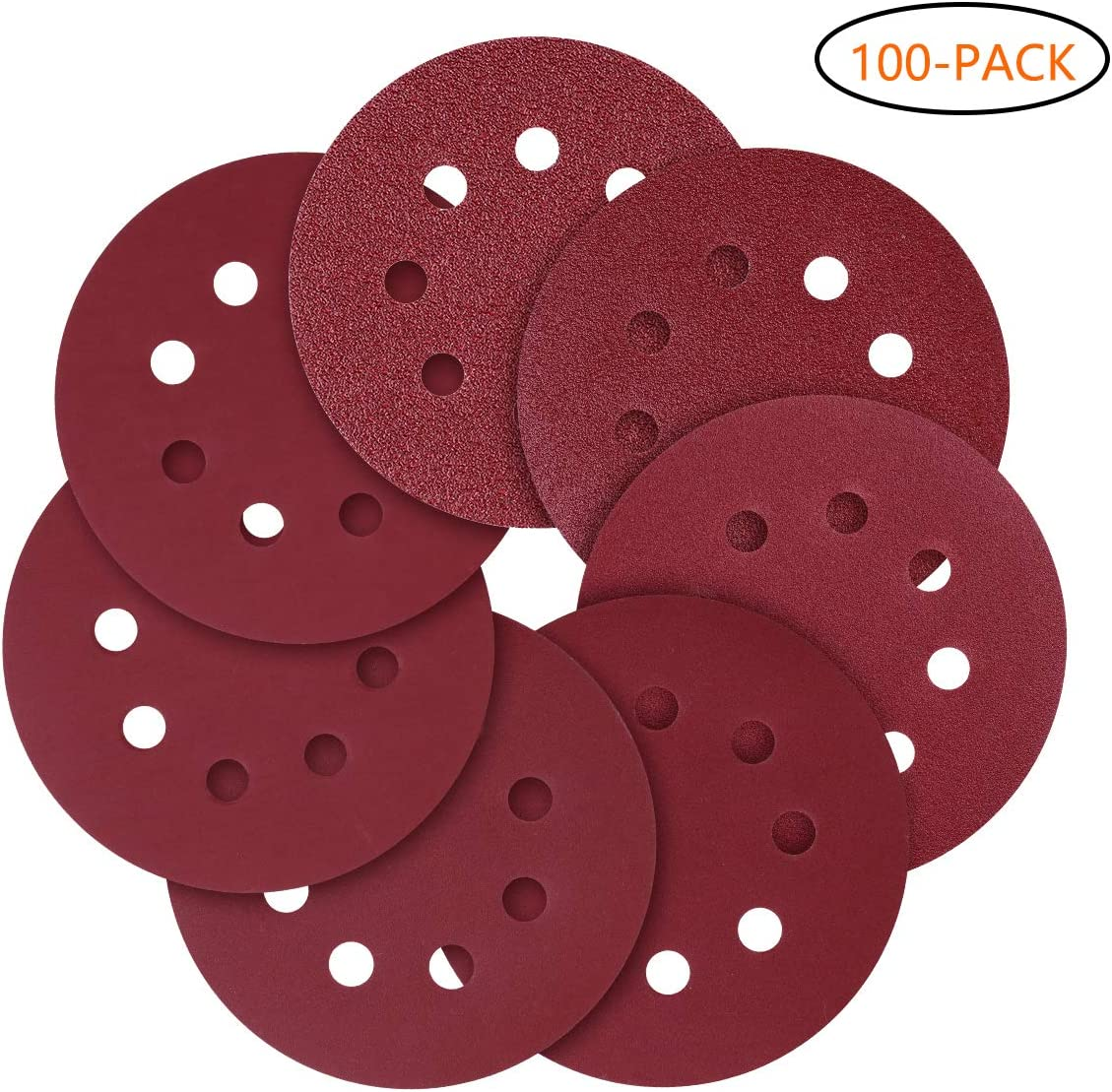 5-Inch 8-Hole Hook and Loop Sanding Discs, 120/240/320/600/800 Assorted Grits Sandpaper - Pack of 100 71czHDNuiIL