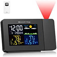 SMARTRO Projection Alarm Clocks for Bedrooms with Weather Station, Wireless Indoor Outdoor Thermometer Black