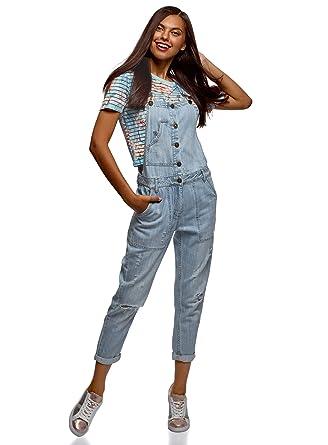 wholesale dealer 8d771 5a78e oodji Ultra Damen Jeans-Latzhose mit Knöpfen