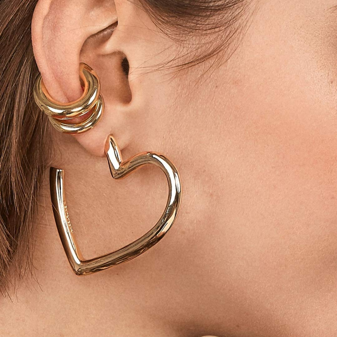 Earrings Heart Silver Yellow gold plated