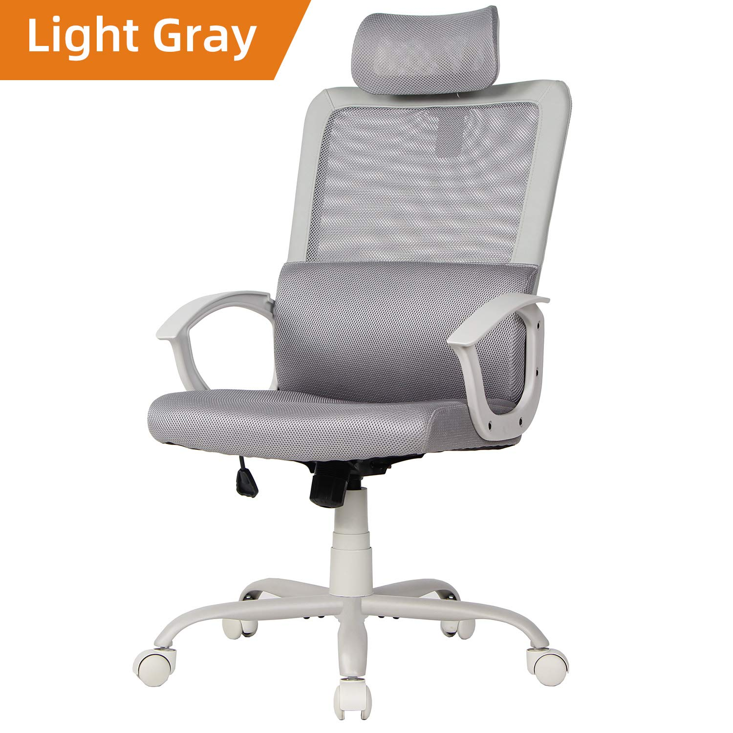Ergonomic Office Chair Adjustable Headrest Mesh Office Chair Office Desk Chair Computer Task Chair (Light Gray)