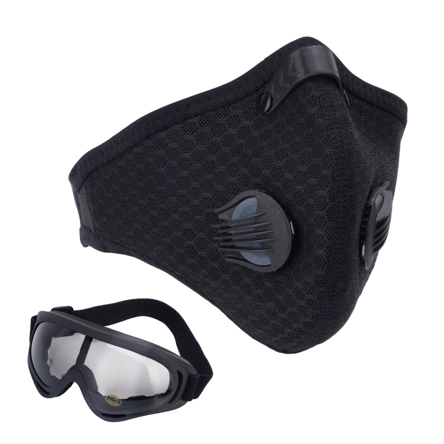 Activated Carbon Dust Mask Motorcycling Goggle Pack of 2 Dustproof Face Mask Filtration Exhaust Gas Anti Pollen Allergy PM2.5 Dust Mask Filter Ski Glass for Motorcycling Cycling Running