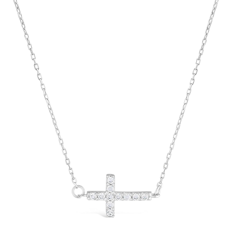 Sterling Silver Sideway Cross Pendant Necklace Cubic Zirconium 18 Chain Lavari