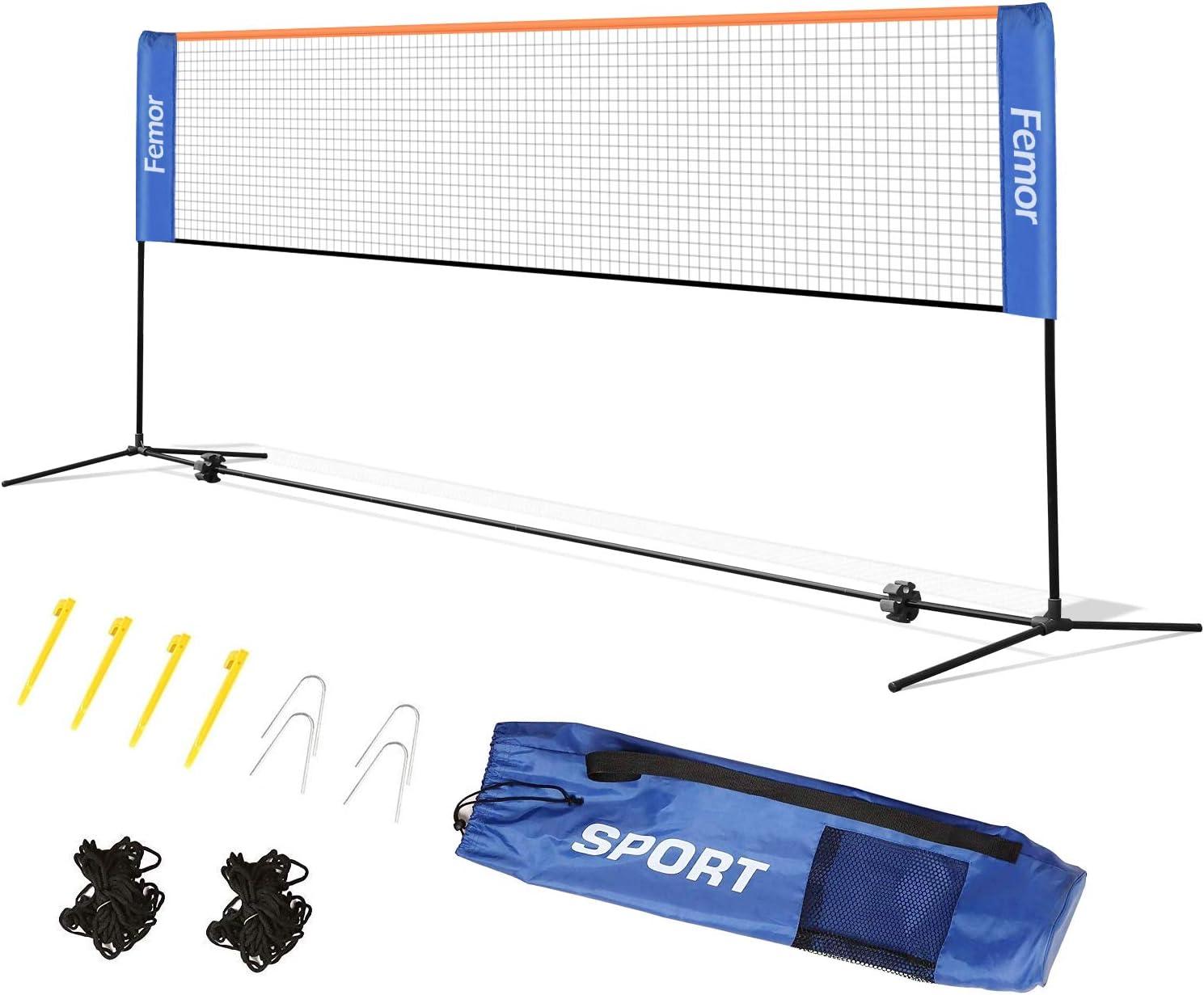 Hauteur r/églable avec Support et Sac Volant Pliable Femor Filet de Tennis 2-en-1 Filet de Tennis Badminton Portable
