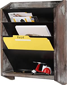 J JACKCUBE DESIGN Wall Document File Organizer Rustic Wood Magazine Rack with 5 Compartments Hanging Mail Holder for Home, Office - MK624A